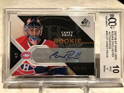 2007-08 Upper Deck Sp Game Used Rookie Exclusives Auto Carey Price /100 Bccg 10