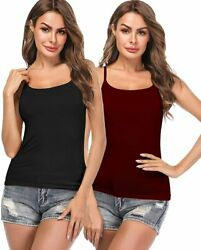 Women Cami With Built-in Bra Cup Adjustable Strap Basic Layering Sleeveless Tank