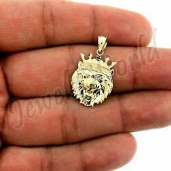 10k Yellow Gold Menand039s Diamond Cut King Crown Lion Head Pendant 10kt Real Gold