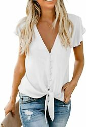 Hotapei Womenand039s Summer Deep V Neck Flutter Sleeve Button Down Front Tie Casual T