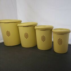 New Vintage Tupperware Servalier Nesting Yellow Daffodil Canister Set W/ Lids