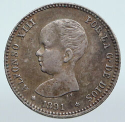 1891 Spain Spanish King Alfonso Xiii Antique Vintage Silver 1 Peseta Coin I89959
