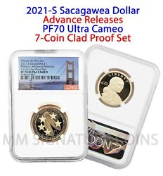 2021 S 1 Sacagawea Ngc Pf70 Ultra Cameo Advance Releases From 7-coin Clad Set