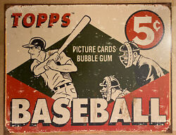 """Vintage Replica Metal Sign Topps Baseball 5c""""picture Cards"""" 40x31cm 1643"""