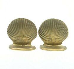 Vintage Solid Brass Scalloped Clam Sea Shell Bookends