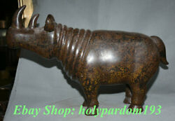 24 Old Chinese Lacquerware Carving Rhinoceros Bull Animal Statue Sculpture