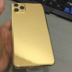 For Iphone 11 12 Pro Max Mini 24k Gold Limited Edition Plated Back Housing Cover