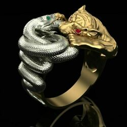 18kt Gold Ring Yellow White Gold Tiger Snake Emeralds Rubies