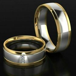 18kt Two-tone Gold Wedding Rings Made In Italy Gift Matte Shiny Satin Bride