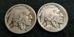 Set Of Two Good 1913-d And 1913-s Ty 1 Buffalo Nickels