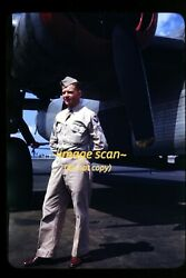 Wwii Usaaf Consolidated B-24 Liberator Aircraft Man In 1940s Original Slide E15a