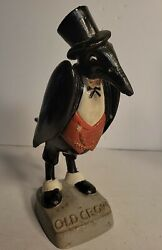 Rare Vintage Old Crow Statue Advertisement Bourbon Bar Display As Is 10 Inches