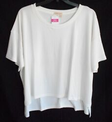 Fresh Produce New 1x 2x 3x White Ribbed Hi Low Knit Jetsetter Top Short Sleeves