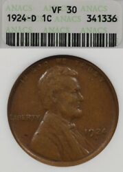 1924-d 1c Anacs Vf30 Lincoln Wheat Penny One Cent, Old Soapbox Holder