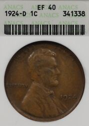 1924-d 1c Anacs Ef40/xf40 Lincoln Wheat Penny One Cent, Old Soapbox Holder