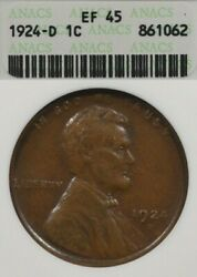 1924-d 1c Anacs Ef45/xf45 Lincoln Wheat Penny One Cent, Old Soapbox Holder