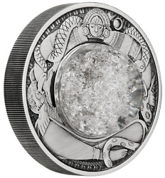 2021 Tears Of The Moon 2oz Silver Antiqued Dome W/ White Mineral Oil In Coin