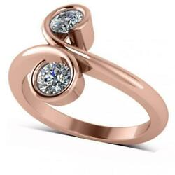 Diamond Solitaire Us Two Stone Swirl Ring 14k Solid Rose Gold 0.50ct