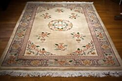 Antique Art Deco Chinese Oriental Rug Hand Knotted Wool 5x8 Full Pile 1910-20