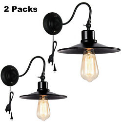 2 Pack Industrial Plug In Wall Sconce,wall Mount Lamps Fixture For Porch Bedroom