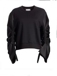 3.1 Philip Lim Top Black Cotton Long Silk Sleeves Side M French Terry