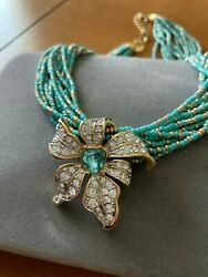 Nolan Miller Jewelry Blooming Blue Bead Necklace With Removable Flower Slide