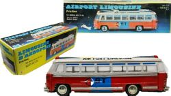 Vintage Chinese Made Airport Limousine Tin Friction Bus W/ Original Box