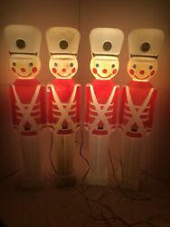 Union Blow Mold 31 Toy Soldier Set Of 4 Lighted Decor