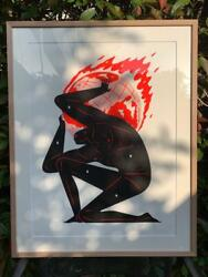 Used Cleon Peterson World On Fire White 2020 Prints Silk Screen 61cm 45.7cm