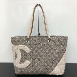 Used Cambon Line Tweed Color Women Tote Bag Gray White Pink Beige