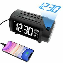 Projection Alarm Clock Radio Digital Clock with USB Charger and Blue black