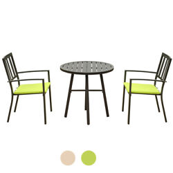 3 Piece Steel Patio Set Outdoor Bistro Dining Set Metal Frame Table Chairs