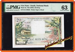 Jcandc - Pick.4a 1956 South Vietnam 20 Dong Tiger's Head - Unc 63 By Pmg