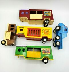Vintage Lot Of 5 Buddy L Metal Circus Rodeo Horse Trailers Pan Am Truck Toys
