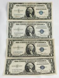 4 1935 One Dollar Silver Certificates 1 Us Paper Money Circulated Currency Cdf