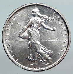 1963 France French Large With La Semeuse Sower Woman Silver 5 Francs Coin I90186