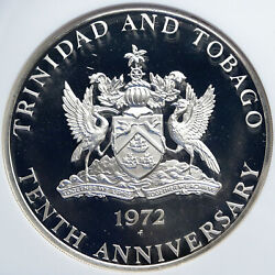 1972 Trinidad And Tobago Islands Large Vintage Proof Silver 10 Coin Ngc I87842