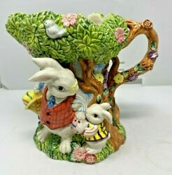 Fitz And Floyd Bunny Rabbit Easter Egg Spring Tree House Pitcher 1 Quart 1996