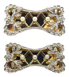 Antique Georgian Platinum And 18k Yellow Gold Pearl And Diamond Accent Bow Pin