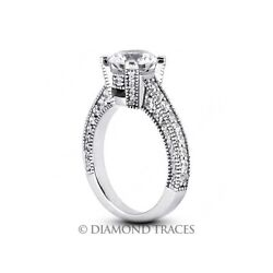 1.93ct G-si2 Round Natural Certified Diamonds 14k Gold Vintage Style Accent Ring