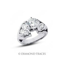 1 3/4 Ct F Si1 Round Cut Earth Mined Certified Diamonds 14k Gold Engagement Ring