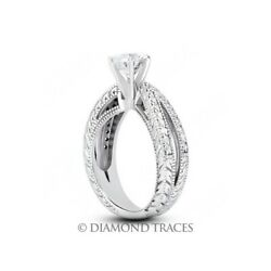 0.89ct F-vs2 Round Natural Diamonds 950 Plat. Vintage Style Side Stone Ring