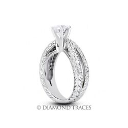 0.95ct I-vs2 Round Earth Mined Certified Diamonds 18k Vintage Style Accent Ring