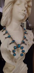 """Vintage Native American Silver Turquoise Squash Blossom Necklace 18 1/2"""""""