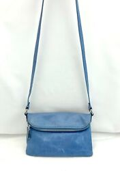 HOBO International LEXI Glacier Blue Distressed Leather Foldover Crossbody Bag $49.37