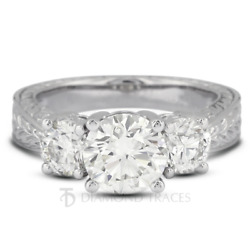 0.95ct H-si2 Round Natural Diamonds 950 Plat. Vintage Style 3-stone Ring
