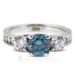 1.68ct Blue Si3 Round Natural Certified Diamonds Plat Classic Engagement Ring