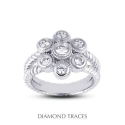 1/2 Ctw E Vs2 Round Cut Earth Mined Certified Diamonds 950 Plat. Right Hand Ring