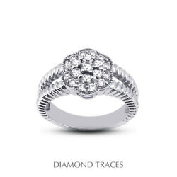 1 Ctw E Vs1 Round Cut Natural Certified Diamonds 18k Gold Halo Right Hand Ring
