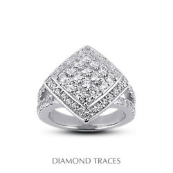 2ct F Vs1 Round Cut Earth Mined Certified Diamonds 14k Gold Halo Right Hand Ring